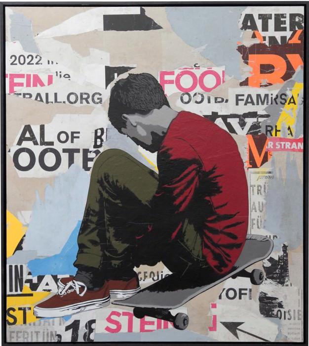 alias street art stencil lonely skater